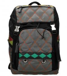 Prada Grey Quilted Large Backpack
