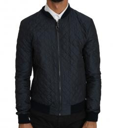 Navy Blue Quilted Logo Bomber Jacket