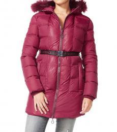 Cherry Faux Furr Long Coat