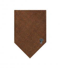 Versace Mustard Herringbone Tie