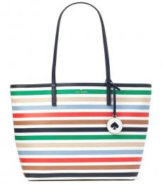 Kate Spade Multicolor Tanya Stripes Large Tote