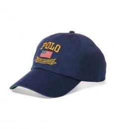 Navy Blue Flag Chino Baseball Cap