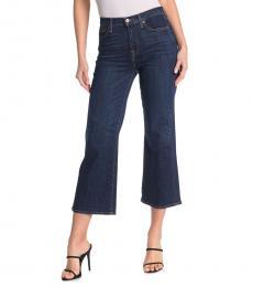 Dark Blue Cropped Wide Leg Jeans