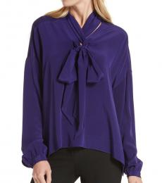 Diane Von Furstenberg Dark Purple Tie Neck Silk Blouse