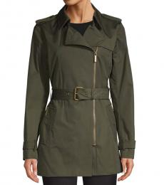 Olive Zip Front Trench Coat
