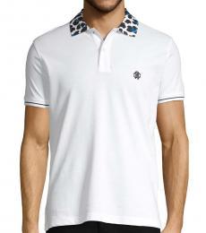Roberto Cavalli White Logo Cotton Polo