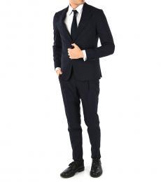 Ermenegildo Zegna Navy Blue Striped Suit