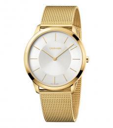 Calvin Klein Gold Silver Dial Watch