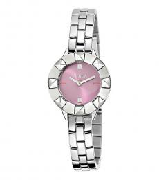 Silver Lilac Satin Dial Watch