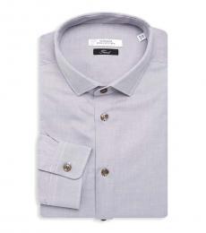 Versace Collection Light Grey Textured Dress Shirt