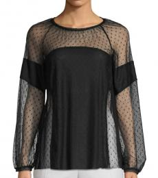 Black Mesh Panel Blouse