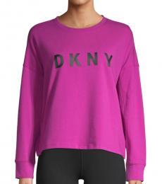 DKNY Dark Pink Logo Graphic Sweatshirt