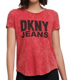 DKNY Red Acid Wash Logo T-Shirt