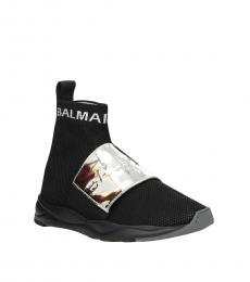 Balmain Black Front Logo Sneakers
