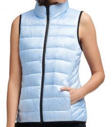 DKNY Sky Blue Funnel Neck Puffer Vest