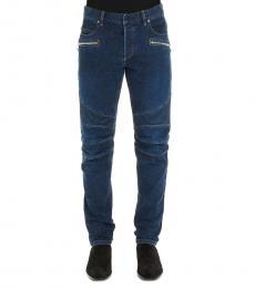 Balmain Dark Blue Solid Logo Jeans