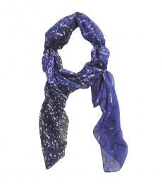 Moschino Navy Printed Square Scarf