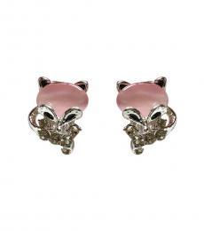 Pink Silver Crystal Fox Earrings