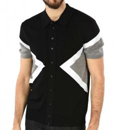 Black Knitted Short Sleeves Shirt