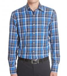 Canali Blue Regular Fit Plaid Shirt