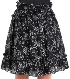 Kenzo Black Flower Print Ruffled Skirt