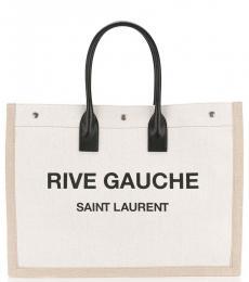 Saint Laurent Off White Rive Gauche Large Tote