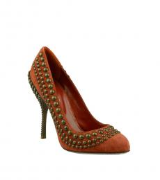 Sergio Rossi Brown Suede Studded Heels