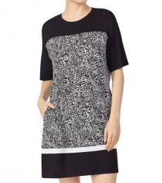 Black Print Colorblock Print Sleep Shirt