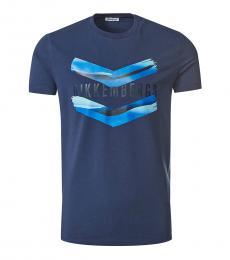 Bikkembergs Dark Blue Graphic Logo T-Shirt