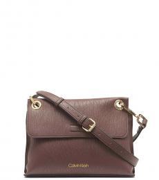 Calvin Klein Walnut Sonoma Flap Medium Crossbody