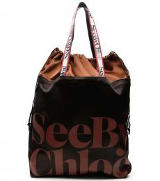 See by Chloe Black Logo Extra Large Tote