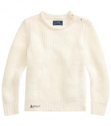 Ralph Lauren Little Girls Clubhouse Cream Rollneck Sweater