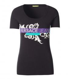 Versace Jeans Black Cotton Logo Top