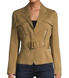 Roberto Cavalli Tan Laced & Belted Jacket