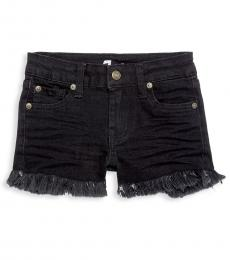 7 For All Mankind Little Girls Black Raw-Edge Denim Shorts