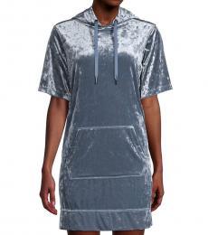 DKNY Oasis Crushed Velvet Hoodie Dress