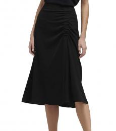DKNY Black Draped Midi Skirt