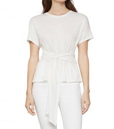 BCBGMaxazria Off White Waist Tie T-Shirt