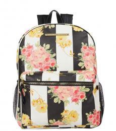 Betsey Johnson Black & White Printed Medium Backpack
