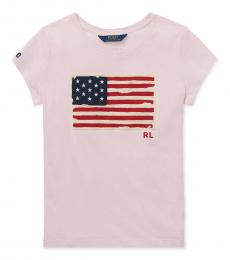 Ralph Lauren Little Girls Hint Of Pink Patriotic T-Shirt