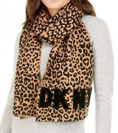 DKNY Leopard Print Logo Scarf
