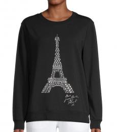 Karl Lagerfeld Black Silver Studded Eiffel Tower Graphic Sweatshirt