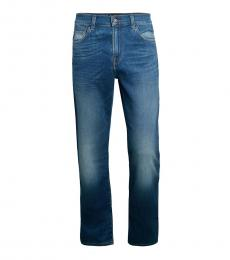 7 For All Mankind Blue Slim-Fit Faded Jeans