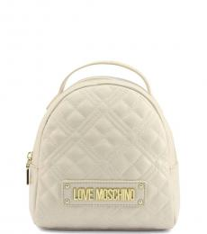 Love Moschino White Quilted Mini Backpack