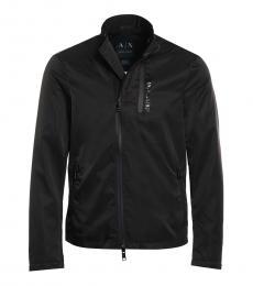 Armani Exchange Black Solid Zipper Jacket
