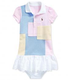 Ralph Lauren Baby Girls Blue Multi Patchwork Dress