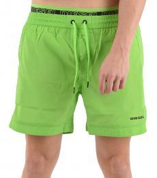 Diesel Green Logo Print Swim Shorts