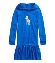 Ralph Lauren Girls Metro Blue Pony Hooded Dress