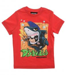 Dsquared2 Boys Red Graphic Print T-Shirt
