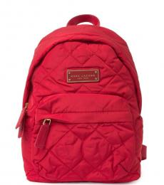 Red Quilted Medium Backpack